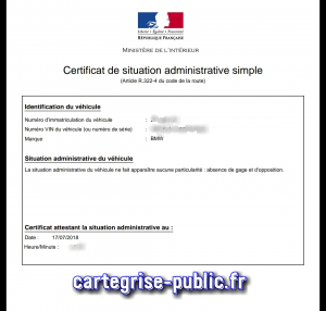 le certificat de situation administrative non gage carte grise public. Black Bedroom Furniture Sets. Home Design Ideas